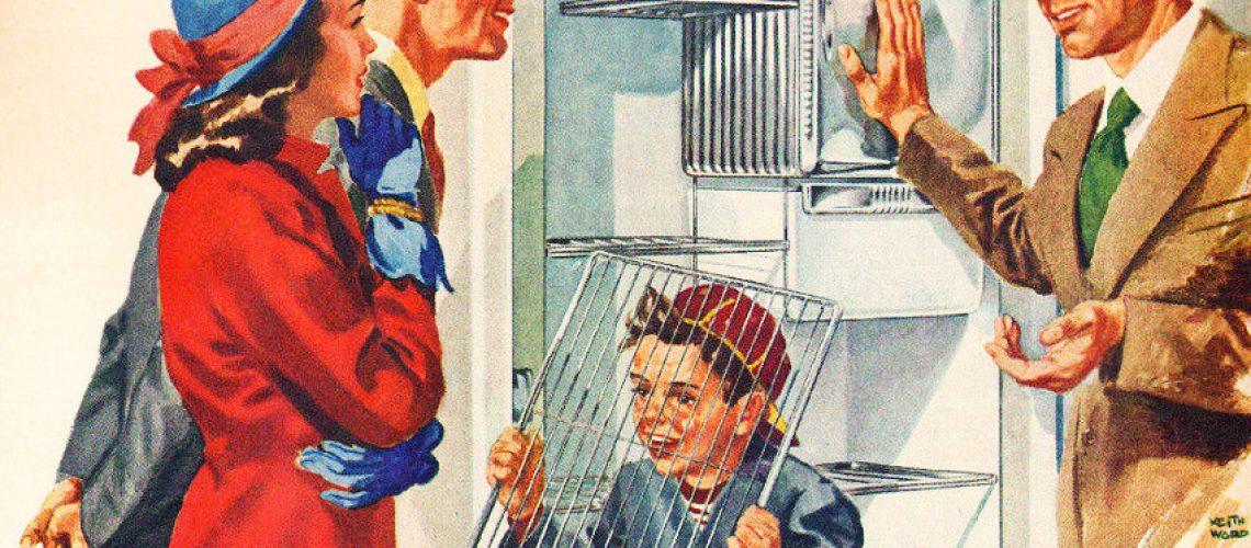 Boy looking through the grill of a fridge shelf